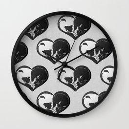 Cat Lovers Heart Wall Clock