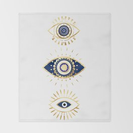 evil eye times 3 navy on white Throw Blanket
