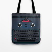 typewriter Tote Bags featuring typewriter by The Geek Store