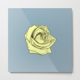 Rose Sketch Yellow Tint on Blue Metal Print