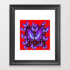 Chinese Red And Purple Butterflies on Black Art Framed Art Print