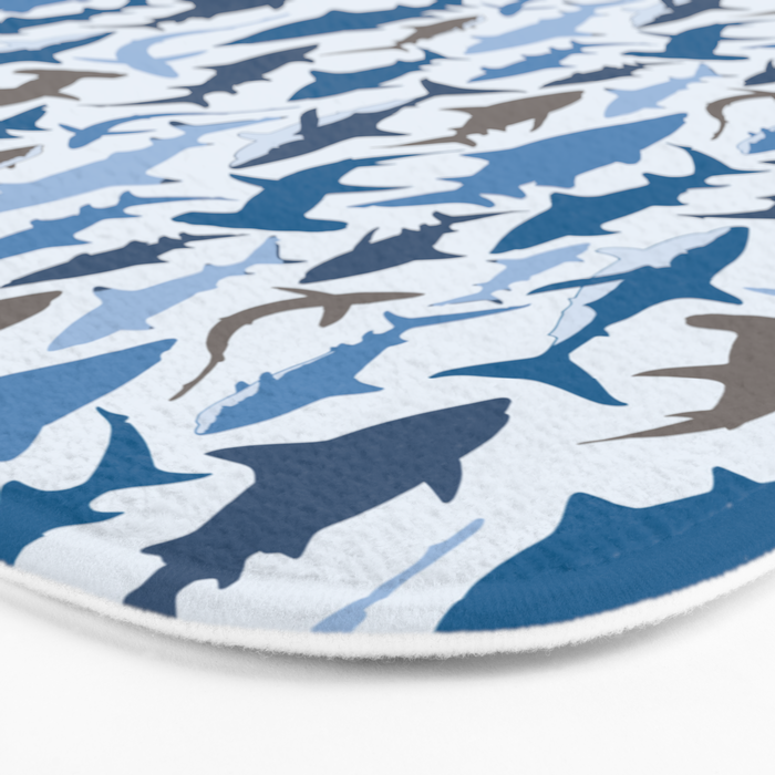 Swimming with Sharks in Blue and Grey Bath Mat