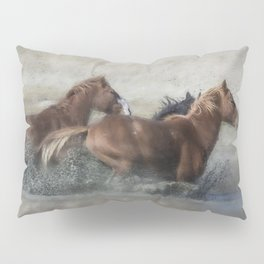 Mustangs Getting Out of a Muddy Waterhole the Fast Way painterly Pillow Sham