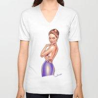 emma stone V-neck T-shirts featuring Emma Stone by Renato Cunha
