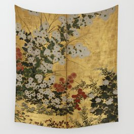 White Red Chrysanthemums Floral Japanese Gold Screen Wall Tapestry
