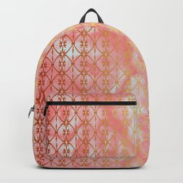 Lacy art pattern Pink marble Backpack