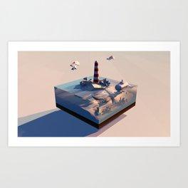 Sunset @ Lighthouse Art Print