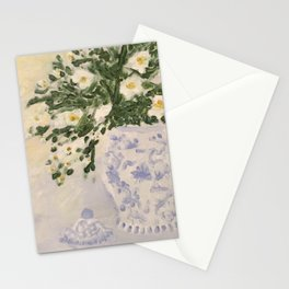 Blue and White Ginger Jar and White Flowers  Stationery Cards