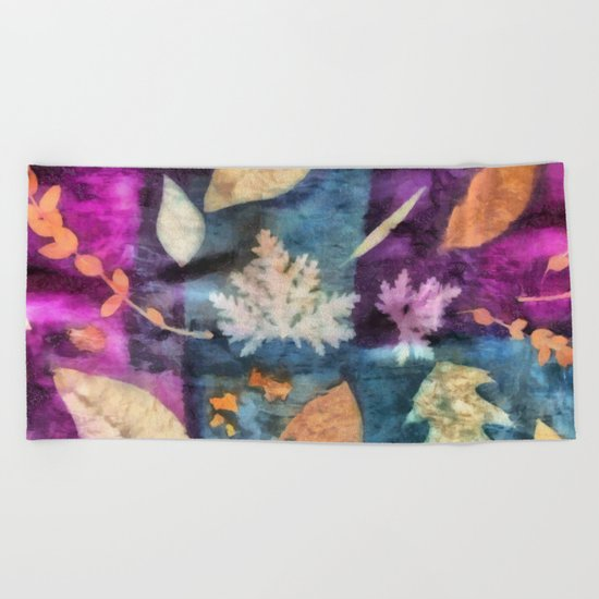 Colorful fallen leaves abstract Beach Towel