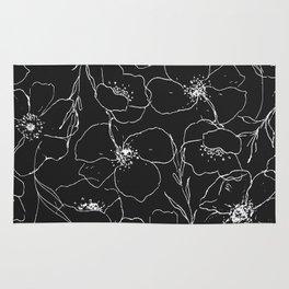 Floral Simplicity - Black Rug