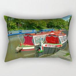 Narrowboats at Devizes Rectangular Pillow