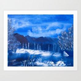 Frosty Mountain River Art Print