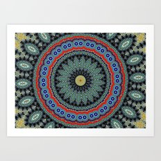 Lovely Healing Mandalas in Brilliant Colors: Black, Wheat, Slate Gray Red and Purple Art Print