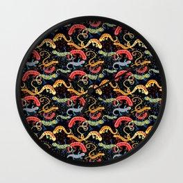 Vector graphic beautiful pattern of colored Salamander Wall Clock