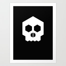 hex geometric halloween skull Art Print