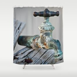 Time weathered Faucet Shower Curtain