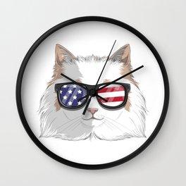 Patriotic Ragdoll Cat Kitty Merica American Flag Wall Clock