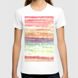 Whimsical Pastel Bokeh Stripes T-shirt