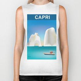 Capri, Italy- Skyline Illustration by Loose Petals Biker Tank
