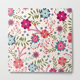 Colorful Floral Spring Pattern Metal Print