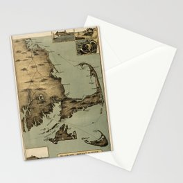 Map of Nantucket Boston 1885 Stationery Cards