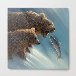Brown Bears - Fishing Lesson Metal Print