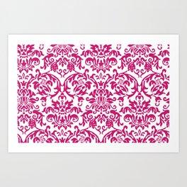 Elegant Damask Pattern (fuchsia) Art Print