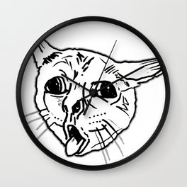 Ugly Coughing Cat Meme Wall Clock