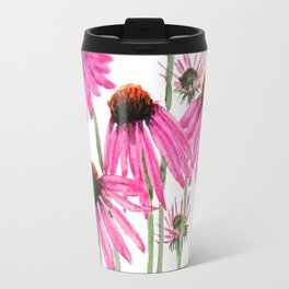 pink coneflowers watercolor Travel Mug