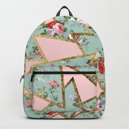 Modern abstract gold pink green floral triangles Backpack