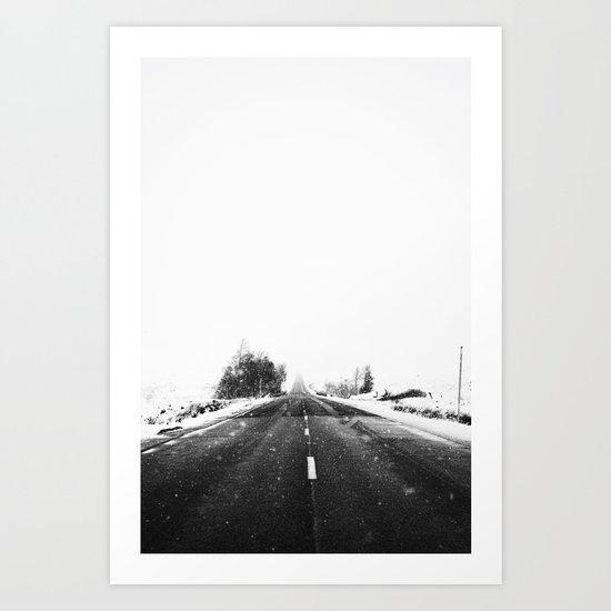 SNOW - WHITE - ROAD - WAY - TRIP - ADVENTURE Art Print