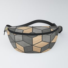 Concrete and Wood Cubes Fanny Pack