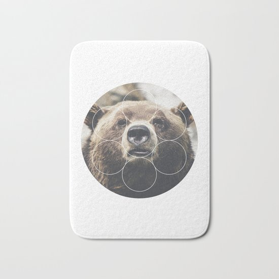 Big Bear Buddy - Geometric Photography Bath Mat