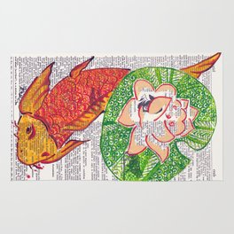 No Need to be Koi, Roi (koi and water lily on dictionary page) Rug