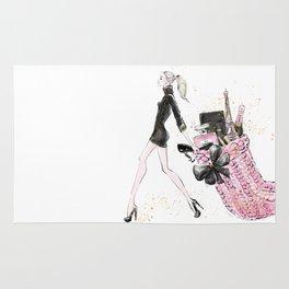 Merry Christmas Fashion Illustration - Blonde Hair Option Rug
