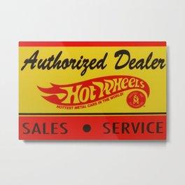 Vintage 1968 Authorized Dealer Hot Wheels Redline Sign Metal Print