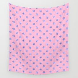Brandeis Blue on Cotton Candy Pink Snowflakes Wall Tapestry