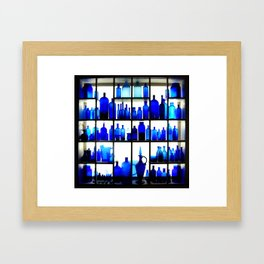 Blue Bottles Framed Art Print