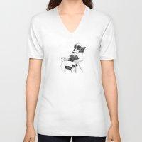 women V-neck T-shirts featuring Women by Vilnis Klints
