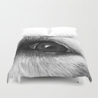 golden retriever Duvet Covers featuring Golden retriever eye by Isabelle Savard-Filteau
