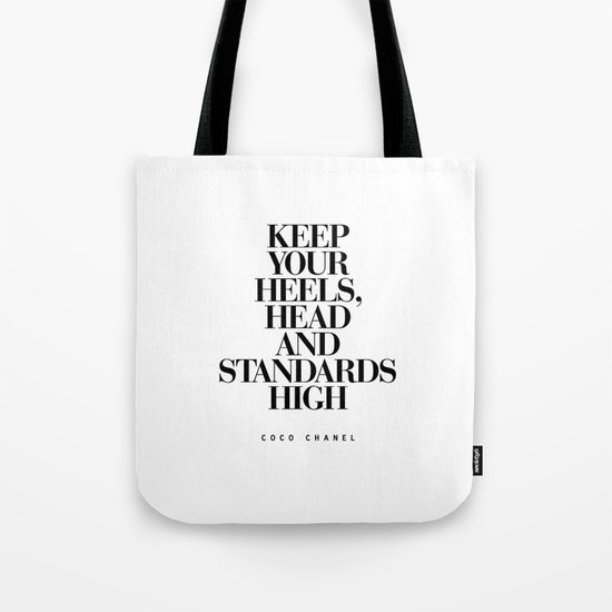 Keep Your Heels High Black and White Inspirational Typography Quote Grl Pwr Girls Bedroom Poster Tote Bag