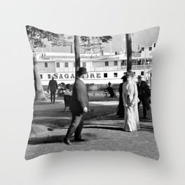 Vintage Lake George: The Sagamore Docks at Green Island Throw Pillow