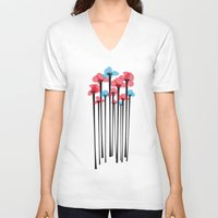 tulip V-neck T-shirts featuring Tulip by GabrieleCigna