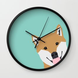 Shiba Inu Peek - cute shiba doge peeking funny dog art print mint turquoise customizable dog gift Wall Clock