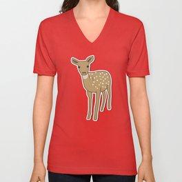 Autumn Deer Illustration Unisex V-Neck