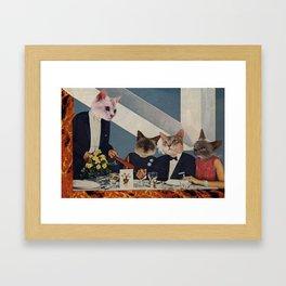 Cats Dine Framed Art Print