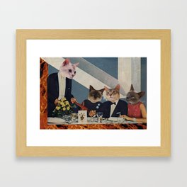 Cats Dine Framed Art Print