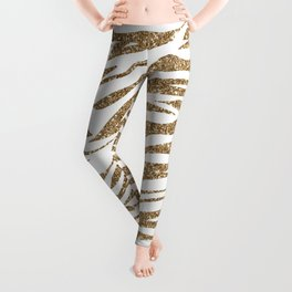 White & Glitter Animal Print Pattern Leggings