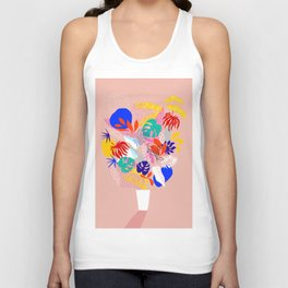 Keep Growing - Tropical plant on peach Unisex Tank Top