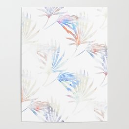 Palmetto Fronds Pattern Pastel Pink Blue Poster